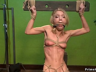 Regimen tow-haired is anal toyed in hogtie