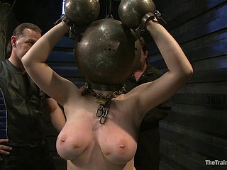 Chubby sub girl turtured with clothespins on her big breast & made to suck