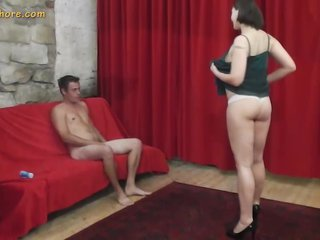 Big-busted MILF agent whore seduces a retarded beginner