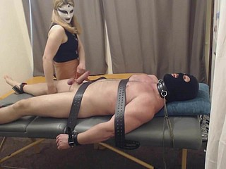 ballbusting handjob and cbt, prickling
