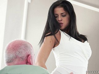 Stimulating black-haired mollycoddle poked unconnected with a catch experienced guy