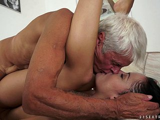 Teen hooks in a recover from a grandpa and rides his elderly cock