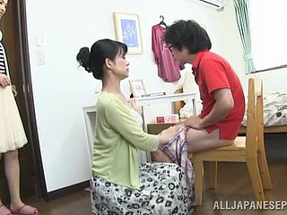 Japanese mom seduces a person added to gives him a hot blowjob